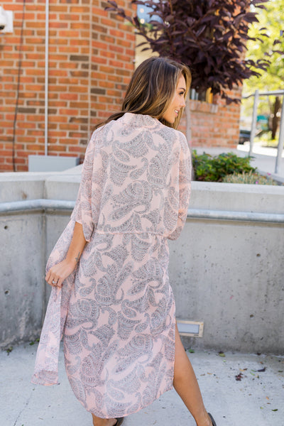 Peach Paisley Kimono - ALL SALES FINAL