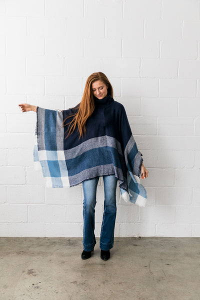 Playful Plaid Poncho in Navy