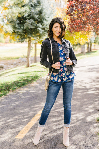 Raglan Floral Long Sleeved Top