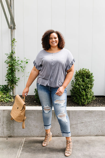 Ruffled Sleeve Button Down In Faded Denim