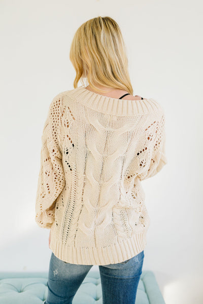 Spice Of Life Cable Knit Sweater In Vanilla