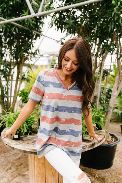 Stars On Stripes V-Neck