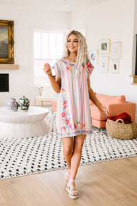 Stripes & Blooms Abound Dress