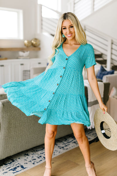 Summertime Button-Down Dress In Turquoise