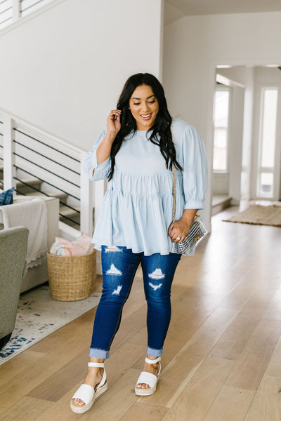 Sweetheart Baby Blue Blouse