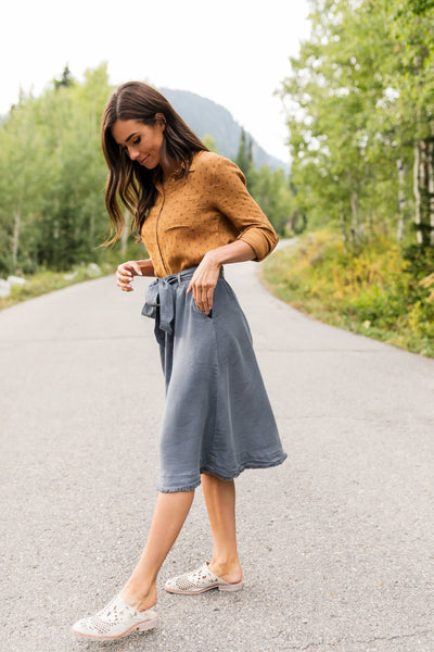 Tenley Tencel Skirt In Slate