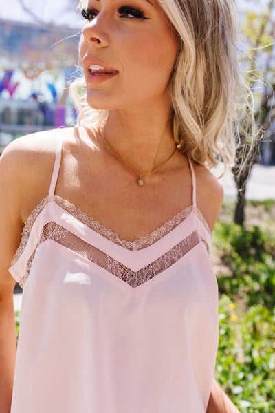 The Lace Escape Cami In Blush