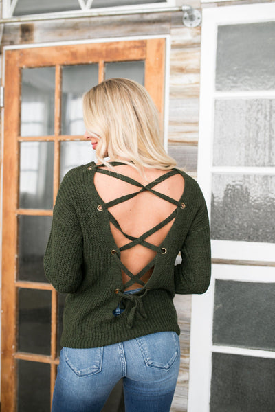 Tight-Laced Open Back Sweater - ALL SALES FINAL