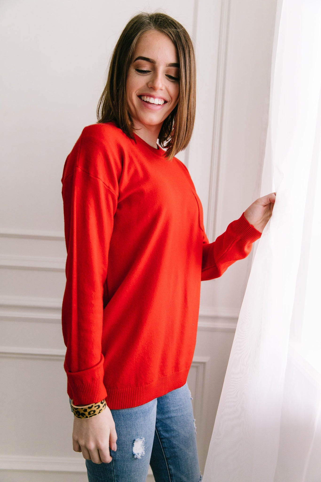 Top 'O The Mornin' Sweater In Poppy