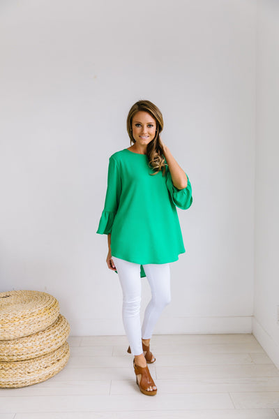 Trumpet Sleeve Blouse In Green