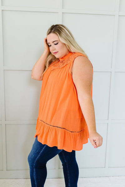 Victoria Lace Mock Neck Top In Orange - 6/2/2020