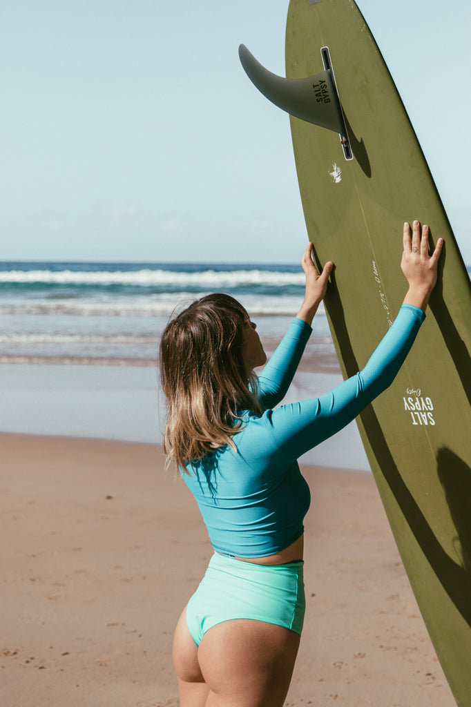 Salt Gypsy sustainable surfwear ~ From ocean waste to ocean style. SHOP HERE www.saltgypsy.com | #saltgypsy #styleinthelineup #sustainablefashion #sustainableswimwear