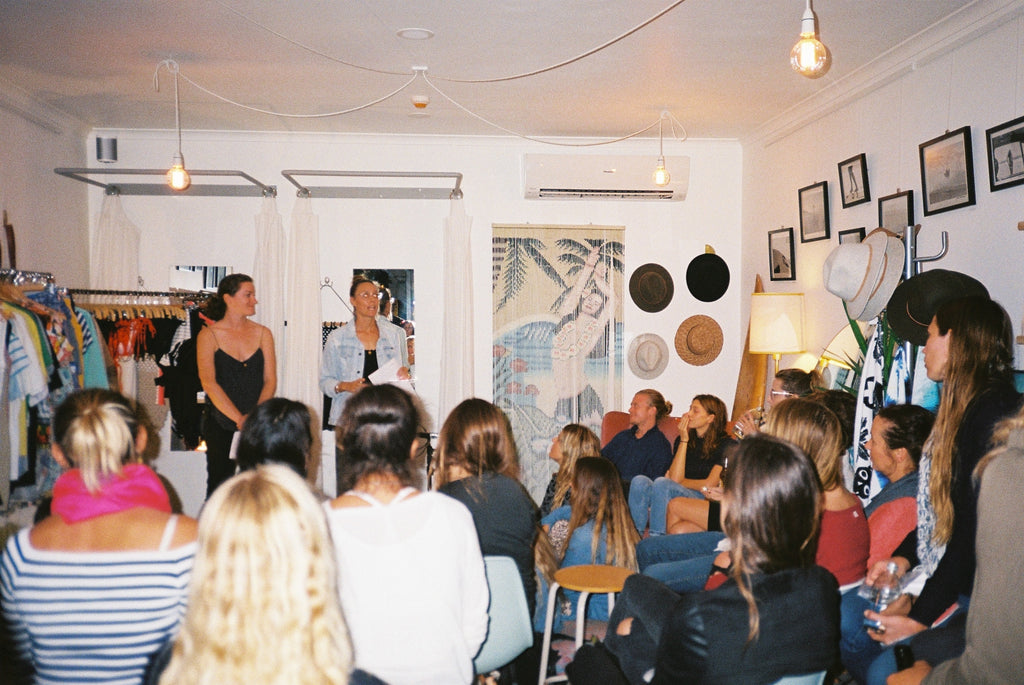 Danielle Clayton, founder of Salt Gypsy, and Kathy Taylor, designer/founder of San Taylor swimwear, lead #whomademyclothes conversation for Fashion Revolution week 2017 at women's surf shop, Sea Bones Byron Bay #saltgypsy #fashionrevolution #santaylorswim #sustainablefashion #whomademyclothes #seabonesbyronbay