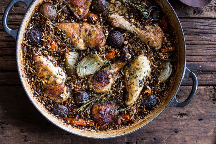 Click & Grow Guide To Beer And Food Pairing: One-Pot Autumn Herb Roasted Chicken with Butter Toasted Wild Rice Pilaf Recipe by Half Baked Harvest