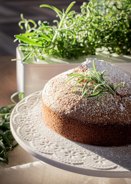Olive oil cake with fresh rosemary