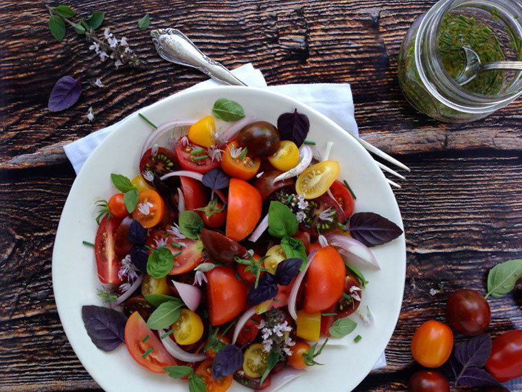 Click & Grow Guide for Beer and Food Pairing: TOMATO AND BASIL SALAD WITH CHIVE VINAIGRETTE RECIPE from Ciao Florentina