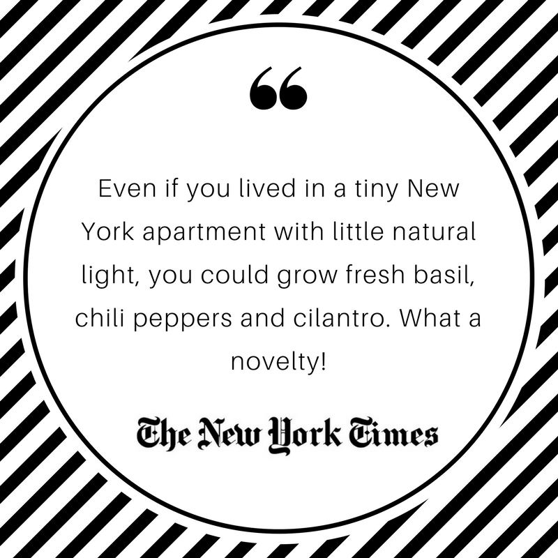 Even if you lived in a tiny New York apartment with little natural light, you could grow fresh basil, chili peppers and cilantro. What a novelty! The New York Times. Click & Grow.