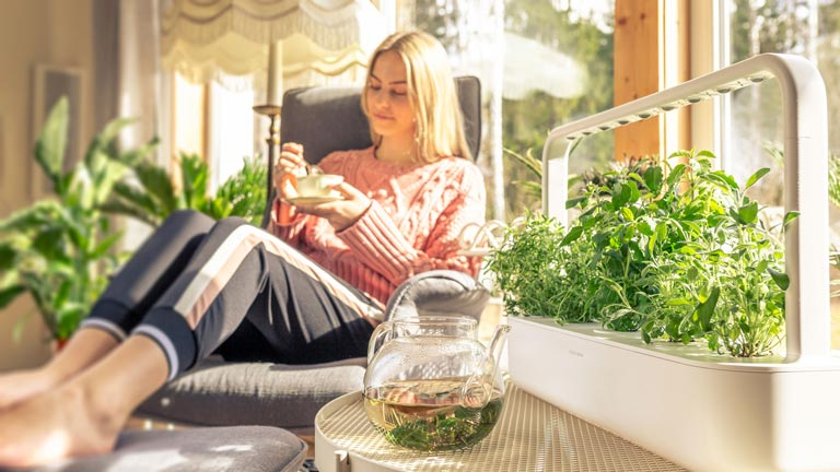 Take a little me-time and enjoy a cup of refreshing peppermint tea, brewed with the freshest ingredients right from your Smart Garden.