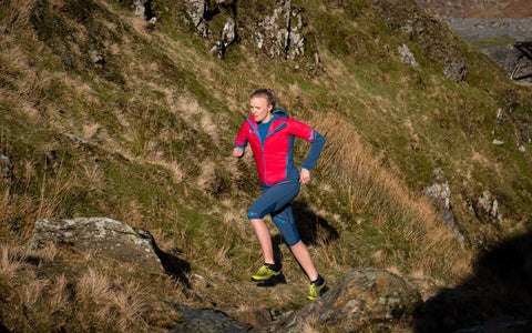 Jo Rycroft from VOOM trail running uphill