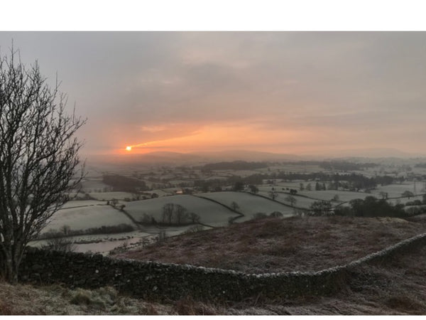 Sunrise over the countryside on a frosty, winter morning