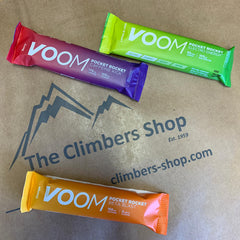 3 Voom pocket rockets in front of The Climbers Shop logo