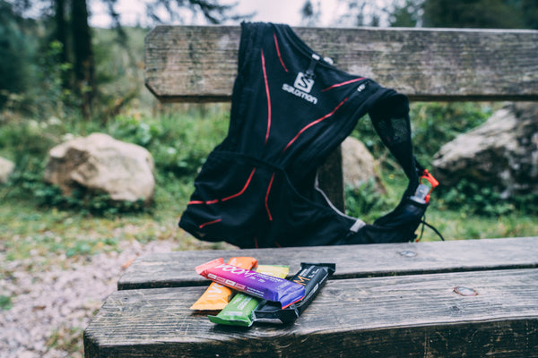 Trail running hydration pack with energy bars