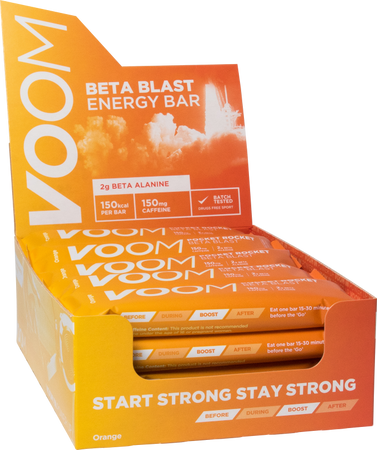 Display box of 20 VOOM Pocket Rocket Beta Blast energy bars in orange flavour.