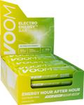 Lime green coloured display box of 20 VOOM Pocket Rocket Electro Energy bars in lemon and lime flavour