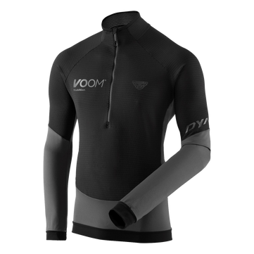 Voom branded mens dynafit light thermal fleece top with half zip, in black and grey colour way