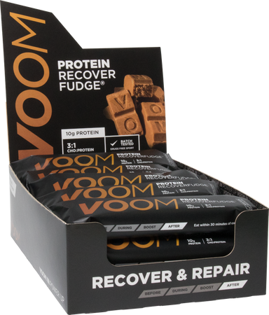 Black display box of 15 VOOM Protein Recover Fudge bars with white text and golden brown voom logo
