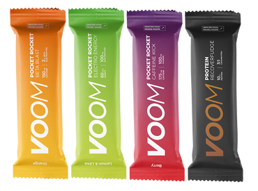 Four Voom Pocket Rocket Energy Bars and Recover Fudge