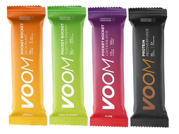 Three varieties of Voom Pocket Rocket Energy Bars and Recover Fudge