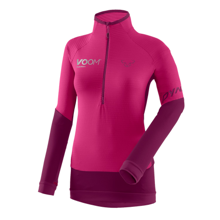 Voom branded women's Dynafit light thermal fleece with half zip in pink