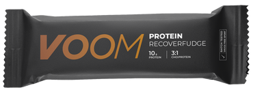 VOOM Recover Fudge bar in black wrap with white text and a golden brown voom logo