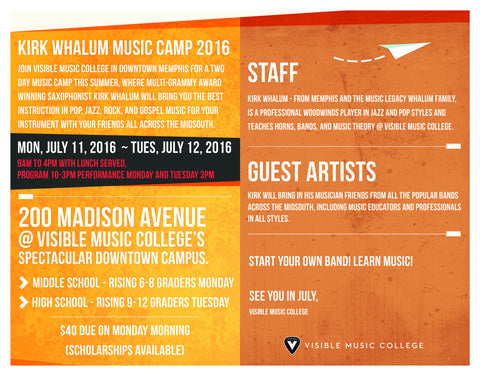 Kirk Whalum Music Camp Registration Fee