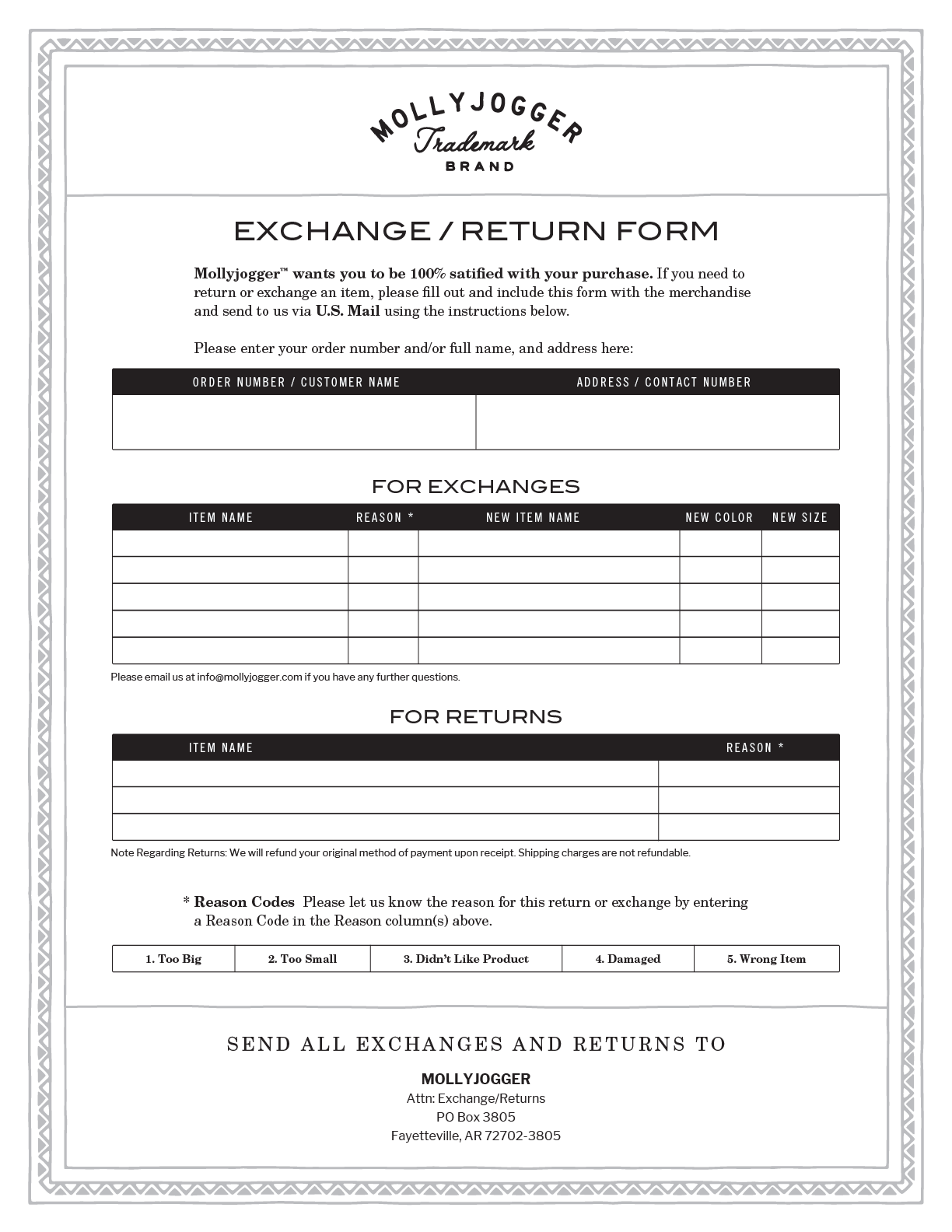 Mollyjogger Exchange Return form