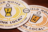 Field Notes Drink Local Ales Lagers US Made Vintage letterpress coaster Chicago