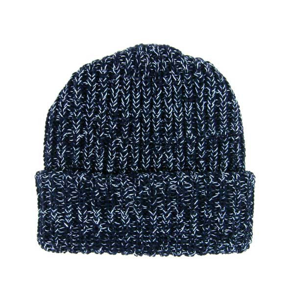 Marled Navy Cotton Knit Hat