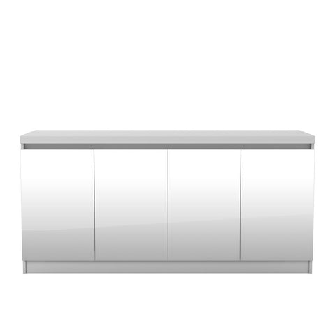 Manhattan Comfort - Viennese 62.99 in. 6- Shelf Buffet Cabinet with Mirrors in White Gloss