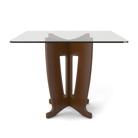 Manhattan Comfort - Jane 39.32 in Sleek Tempered Glass Table Top in Nut Brown