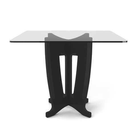 Manhattan Comfort - Jane 39.32 in Sleek Tempered Glass Table Top in Black Gloss