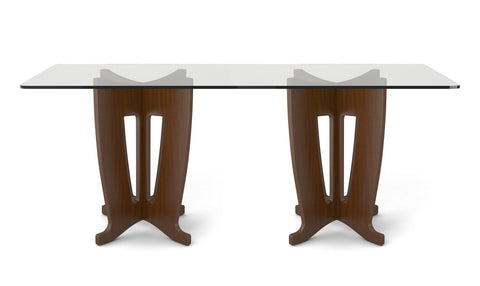 Manhattan Comfort - Jane 2.0 -78.64 in Sleek Tempered Glass Table Top in Nut Brown