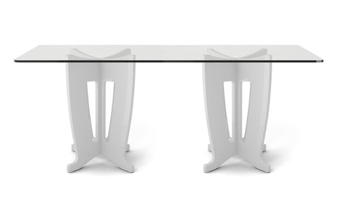 Manhattan Comfort - Jane 2.0 -78.64 in Sleek Tempered Glass Table Top in White Gloss
