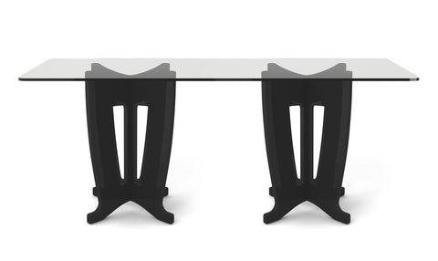 Manhattan Comfort - Jane 2.0 -78.64 in Sleek Tempered Glass Table Top in Black Gloss