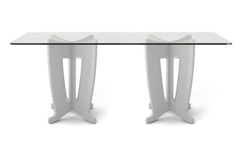 Manhattan Comfort - Jane 2.0 -78.64 in Sleek Tempered Glass Table Top in Off-White