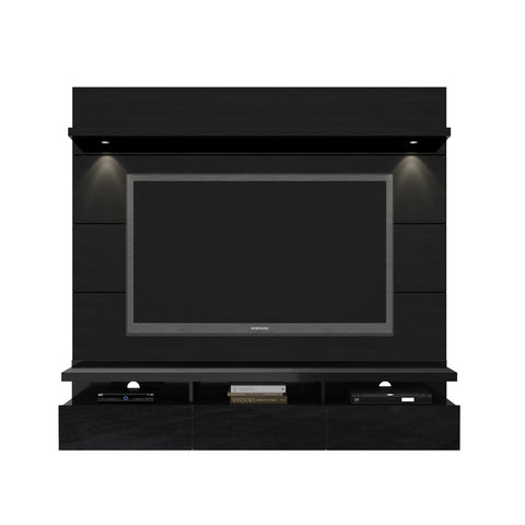 Manhattan Comfort - Cabrini 1.8 Floating Wall Theater Entertainment Center in Black Gloss and Black Matte