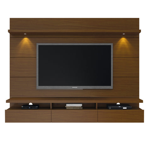 Manhattan Comfort - Cabrini 2.2 Floating Wall Theater Entertainment Center in Nut Brown