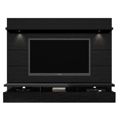 Manhattan Comfort - Cabrini 2.2 Floating Wall Theater Entertainment Center in Black Gloss and Black Matte