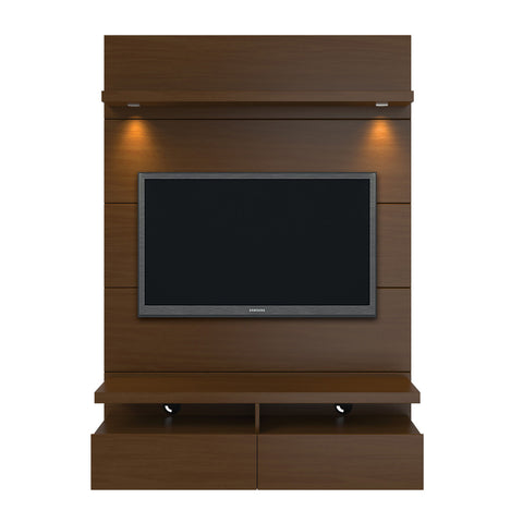 Manhattan Comfort - Cabrini 1.2 Floating Wall Theater Entertainment Center in Nut Brown