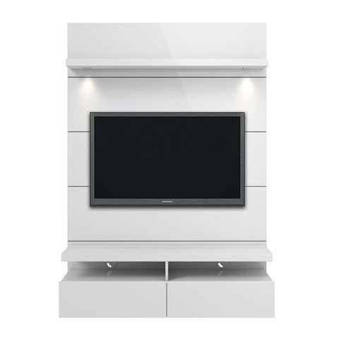Manhattan Comfort - Cabrini 1.2 Floating Wall Theater Entertainment Center in White Gloss